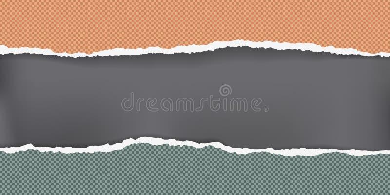 Часть сорванных оранжевых и зеленых приданных квадратную форму горизонтальных прокладок примечания бумажных с мягкой тенью на чер иллюстрация штока