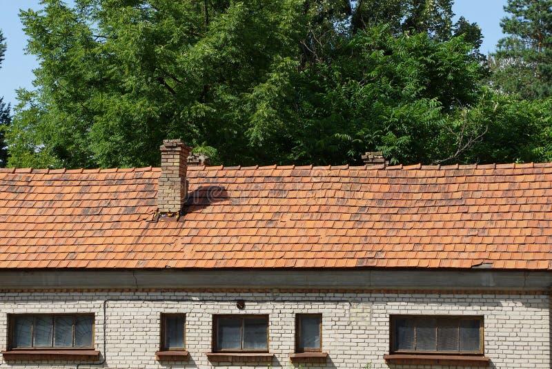 Часть старого дома с окнами под коричневой крышей плитки на фоне ветвей стоковые изображения