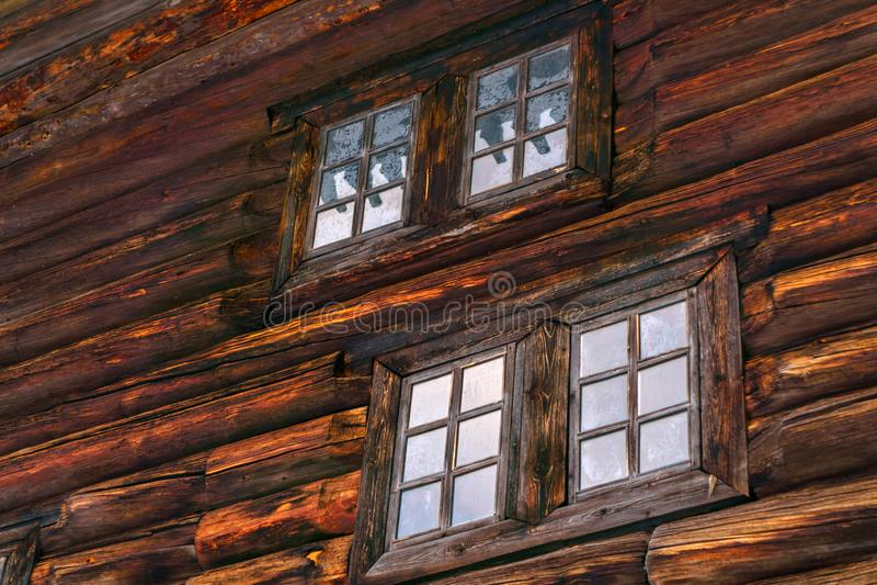 Часть старой деревянной стены стоковая фотография rf