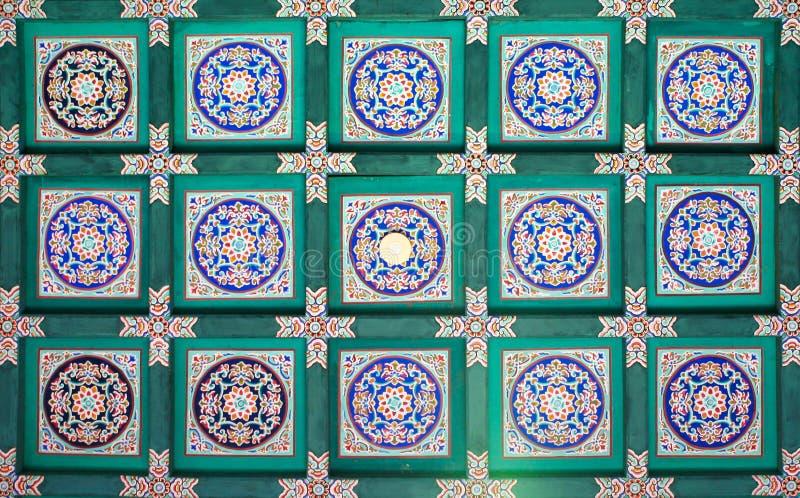 Часть традиционной картины на потолке длинного коридора самых интересных видимостей летнего дворца в b стоковые фотографии rf