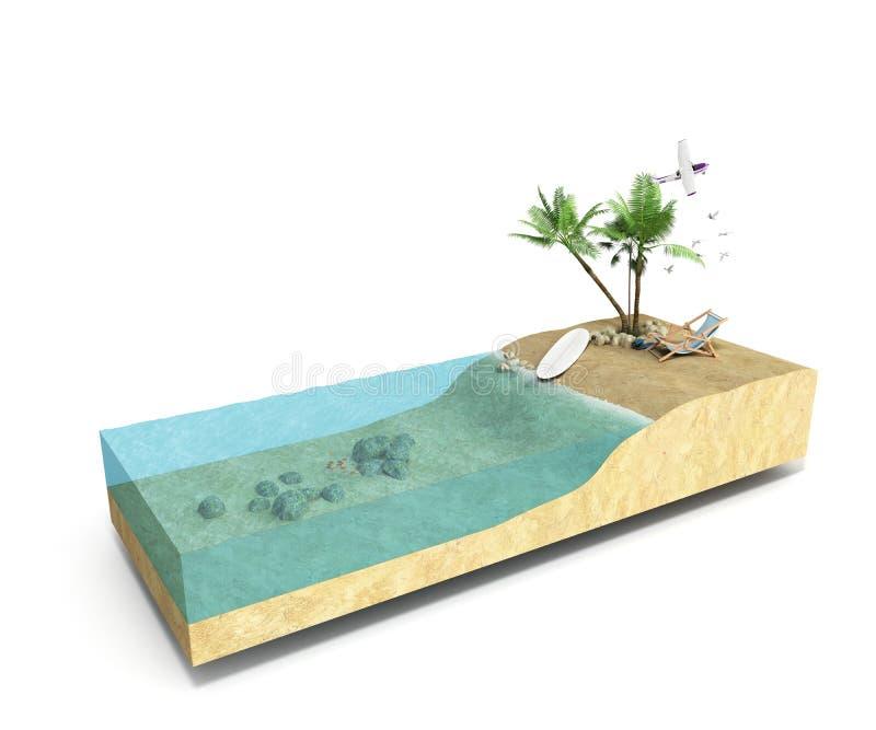 Часть тропического острова с водой и ладонями на пляже в cros иллюстрация вектора
