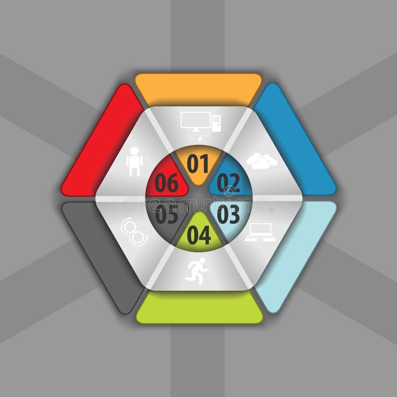 Часть шестиугольника для ваших данных, infographics вектора иллюстрация вектора