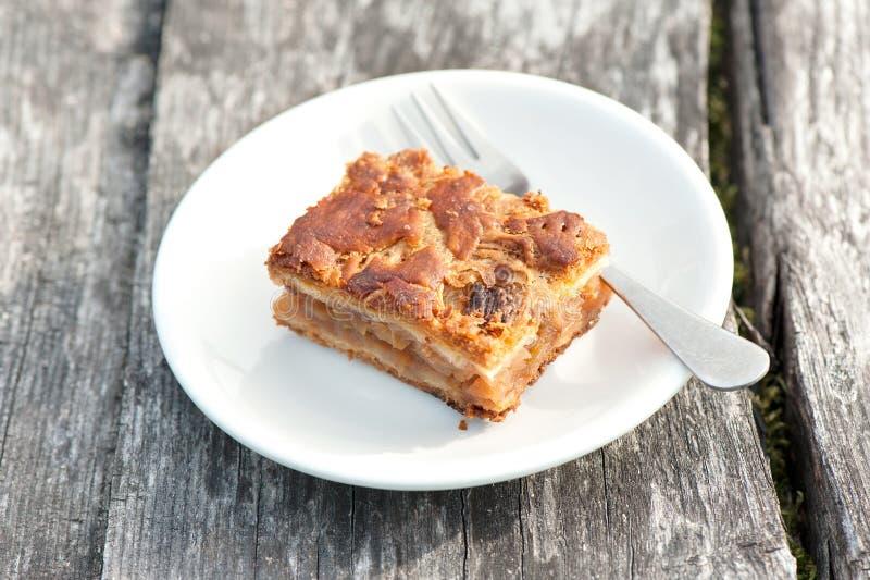 Часть яблочного пирога/торта с циннамоном в белой плите фарфора стоковая фотография