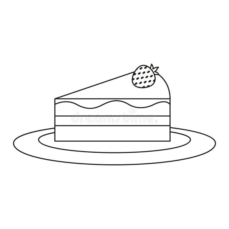 Часть panna торта значка чизкейка иллюстрация вектора