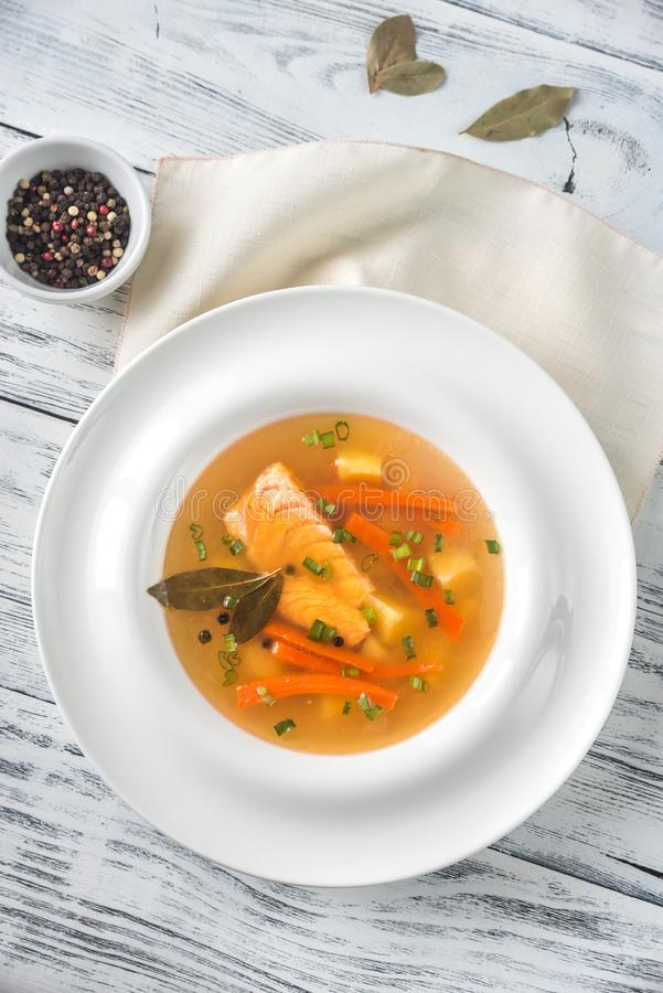 Часть salmon супа стоковые фотографии rf