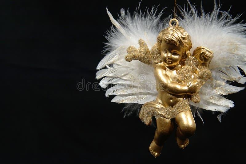 часть VI орнамента рождества ангела окончательная золотистая стоковые изображения rf