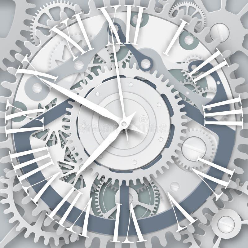 Часы вектора с римскими цифрами Механизм Clockwork иллюстрация штока