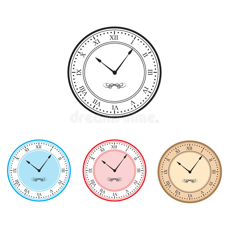 Часы; Вектор значка часов установленный иллюстрация штока