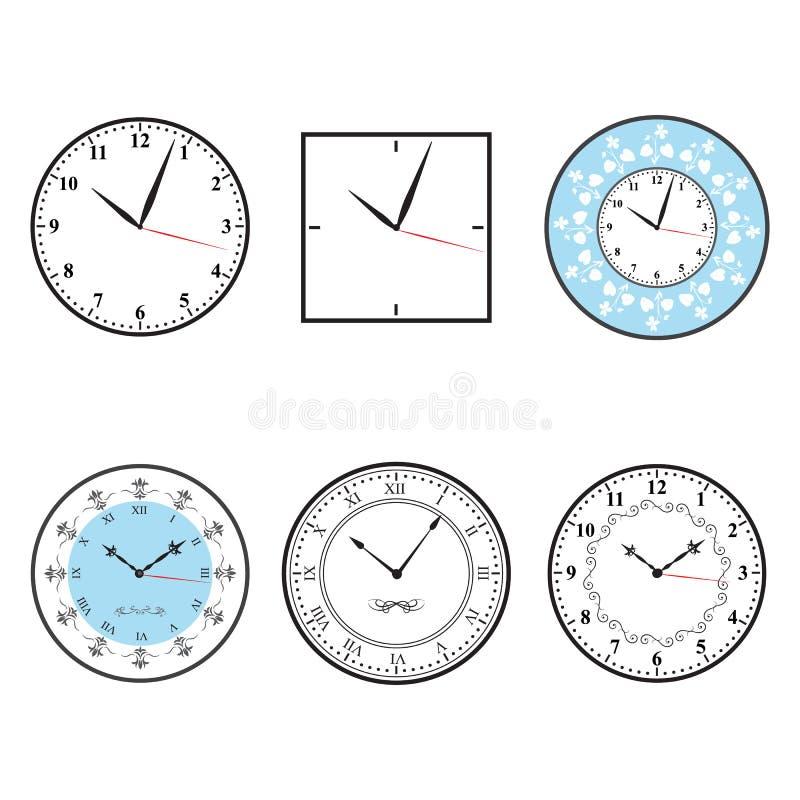 Часы; Вектор значка часов установленный бесплатная иллюстрация
