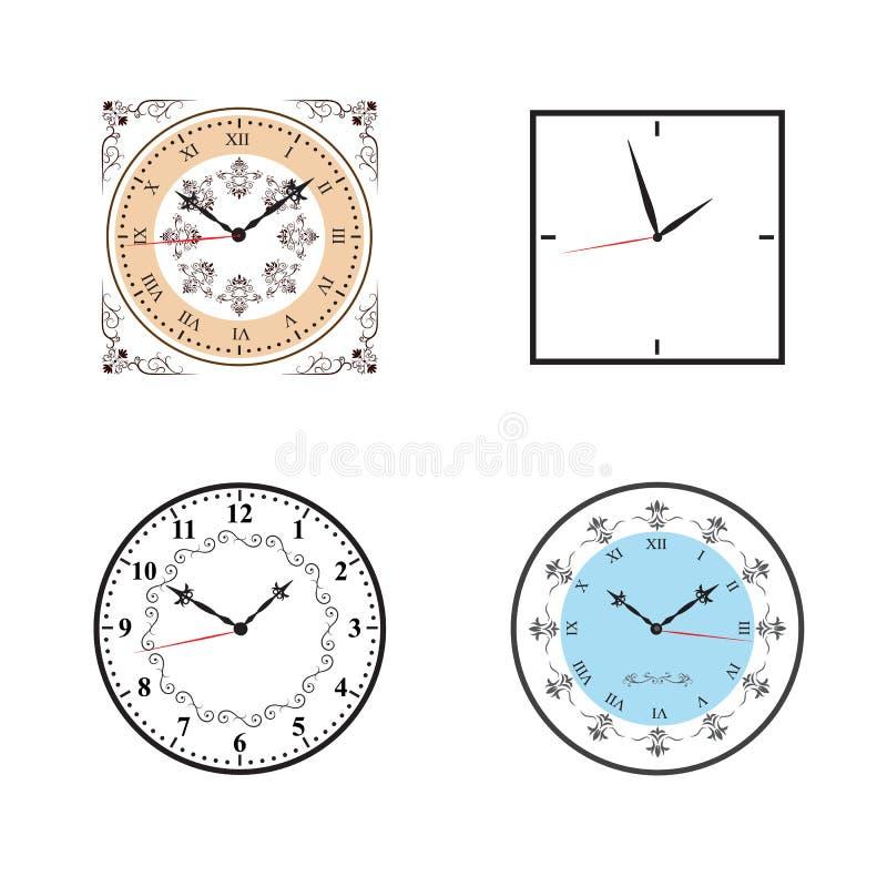 Часы; Вектор значка часов установленный иллюстрация вектора
