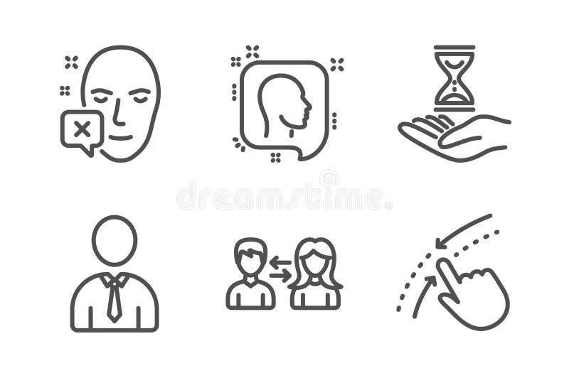 Часы времени, смотрят на просклонянный и человеческий набор значков Связь головы, людей и удар вверх по знакам r иллюстрация вектора