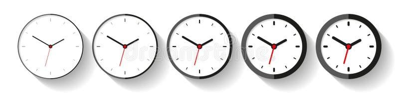 Часы в плоском стиле, наборе значка Таймер Minimalistic на белой предпосылке От тонкой к толстым линиям Вахта дела Ele дизайна ве иллюстрация вектора