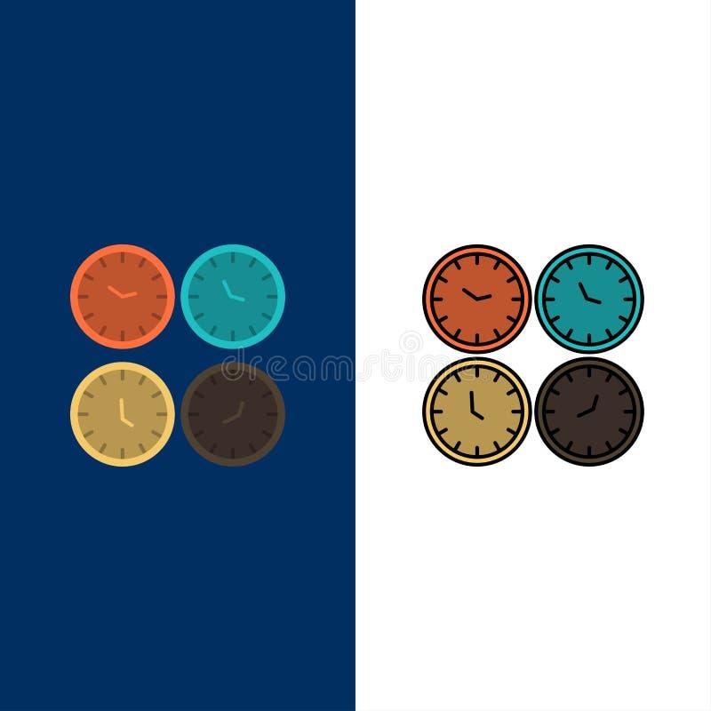 Часы, дело, часы, часы офиса, часовой пояс, настенные часы, значки времени мира Квартира и линия заполненная синь вектора значка  иллюстрация вектора