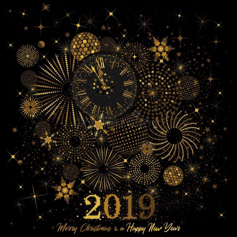 Часы золота показывая комплекс предпусковых операций к часам ` 12 o ` s Eve 2019 Новых Годов на черной предпосылке иллюстрация штока