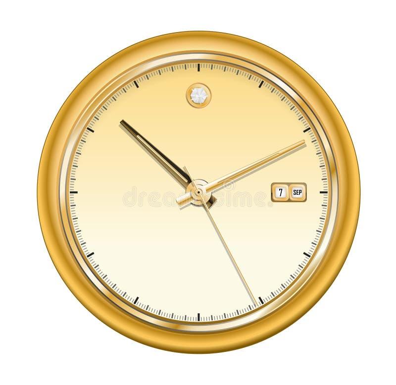 часы золотистые иллюстрация вектора
