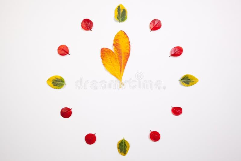 Часы листьев осени стоковое изображение
