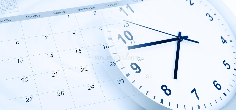 Часы и календарь стоковые фотографии rf