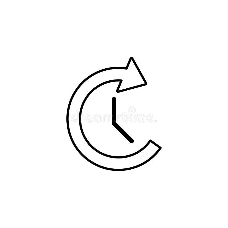 часы и круговой значок стрелки Элемент простого значка для вебсайтов, веб-дизайна, передвижного app, графиков информации Тонкая л иллюстрация штока