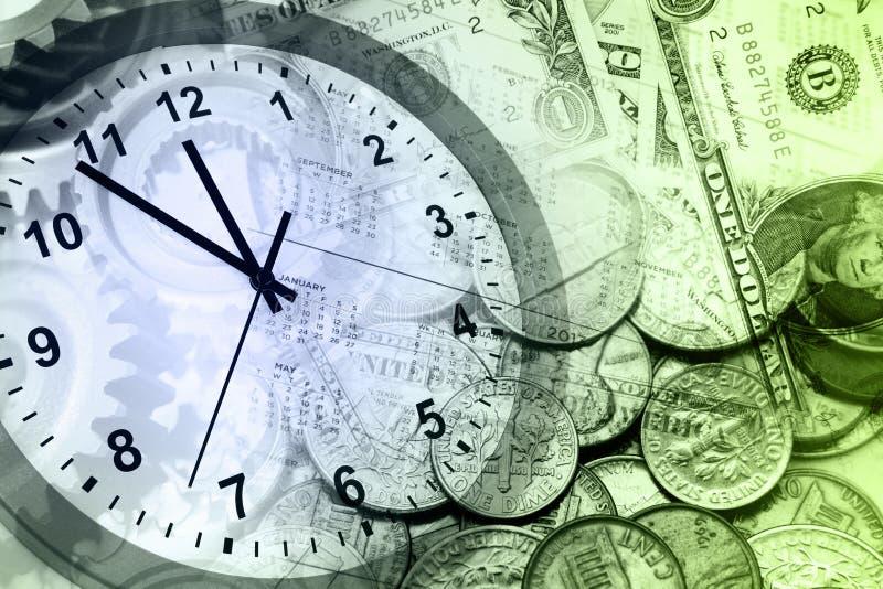 Часы и наличные деньги стоковые изображения rf