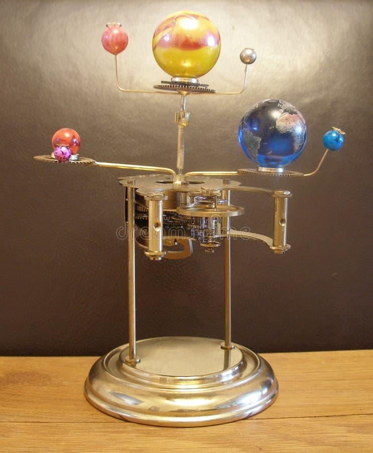 Часы и планеты искусства Steampunk Orrery стоковая фотография rf