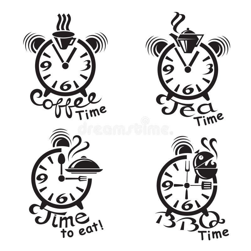 Часы и различные еда и пить иллюстрация штока