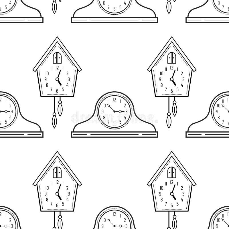 Часы и часы с кукушкой каминной доски Черно-белая безшовная картина для книжка-раскрасок бесплатная иллюстрация