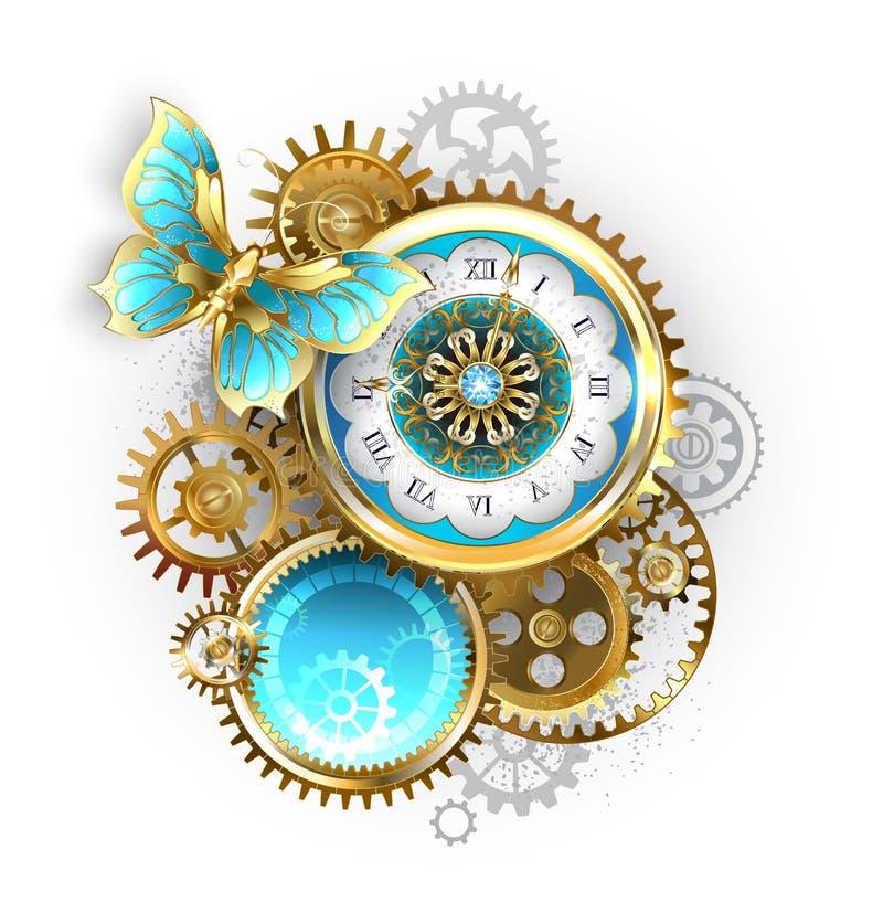 Часы и шестерня с бабочкой иллюстрация вектора