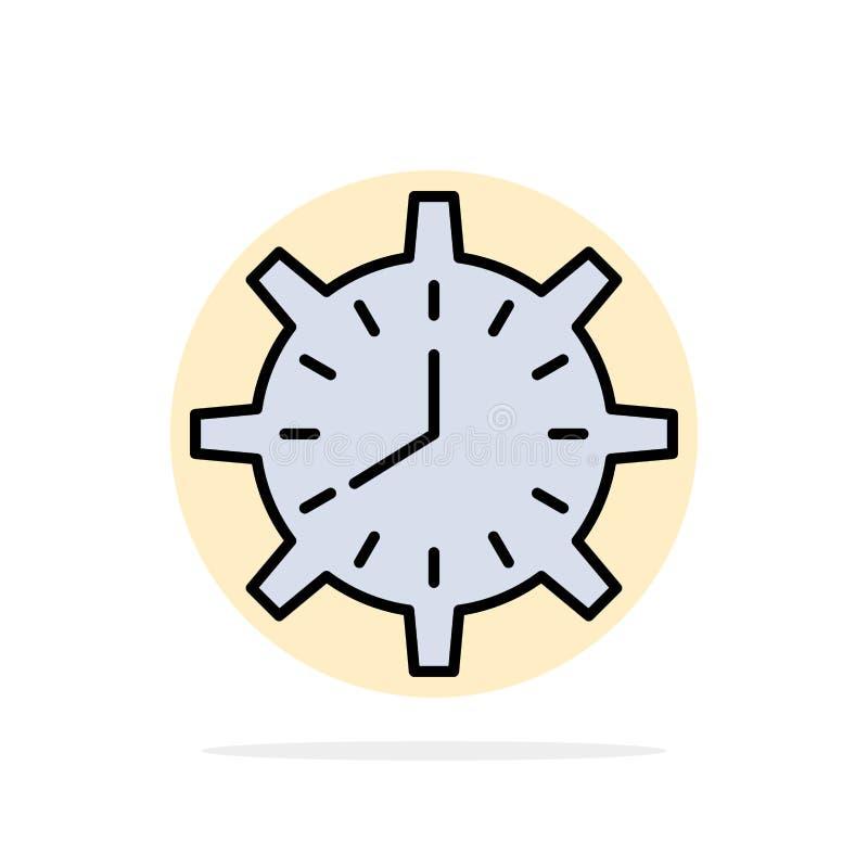 Часы, крайний срок, время, часы, время, дозор, предпосылки круга работы значок цвета абстрактной плоский иллюстрация вектора