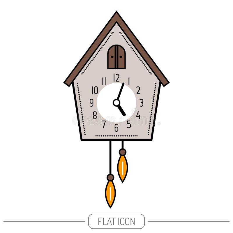 Часы кукушки Покрасьте плоский значок изолированный на белой предпосылке бесплатная иллюстрация