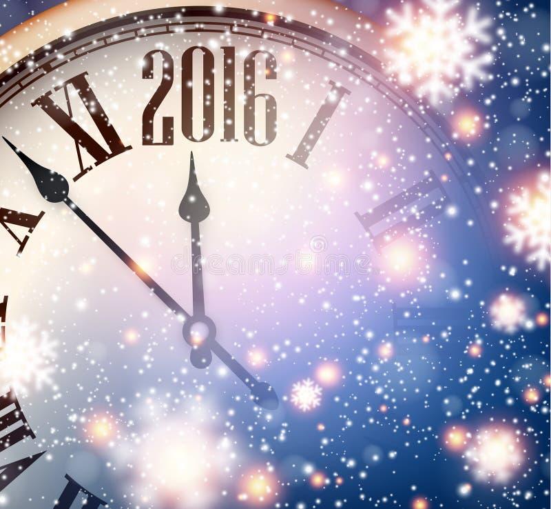 Часы 2016 Новых Годов с снежной предпосылкой иллюстрация вектора