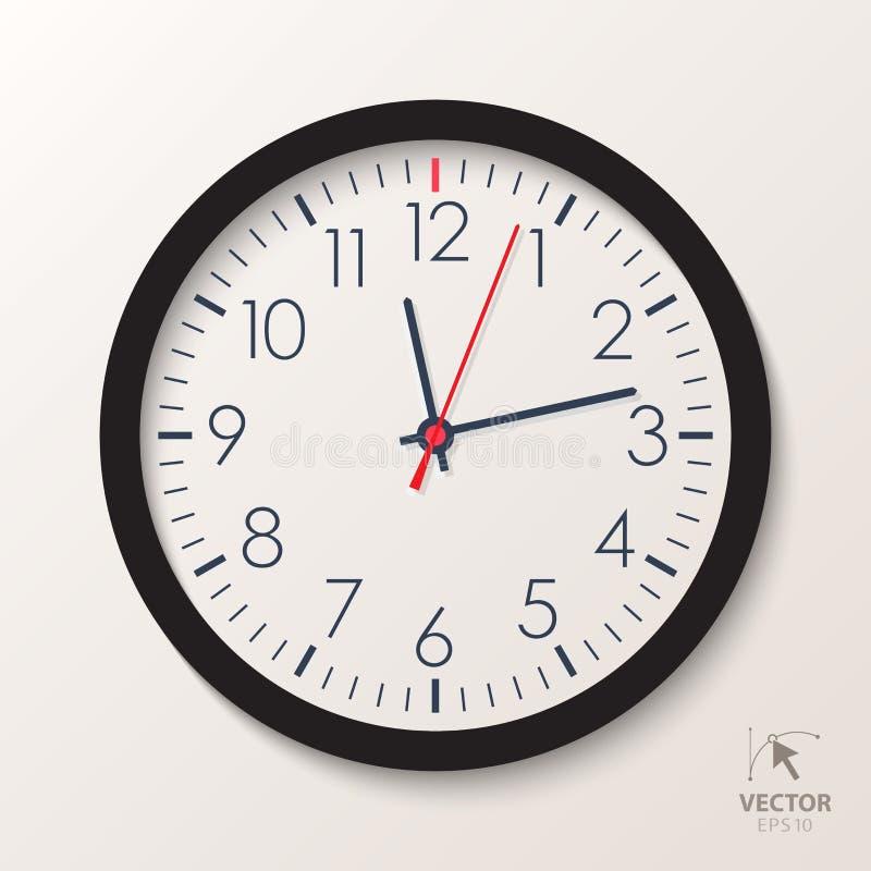 Часы офиса вектора Классический вахта изолированный на белой предпосылке иллюстрация вектора