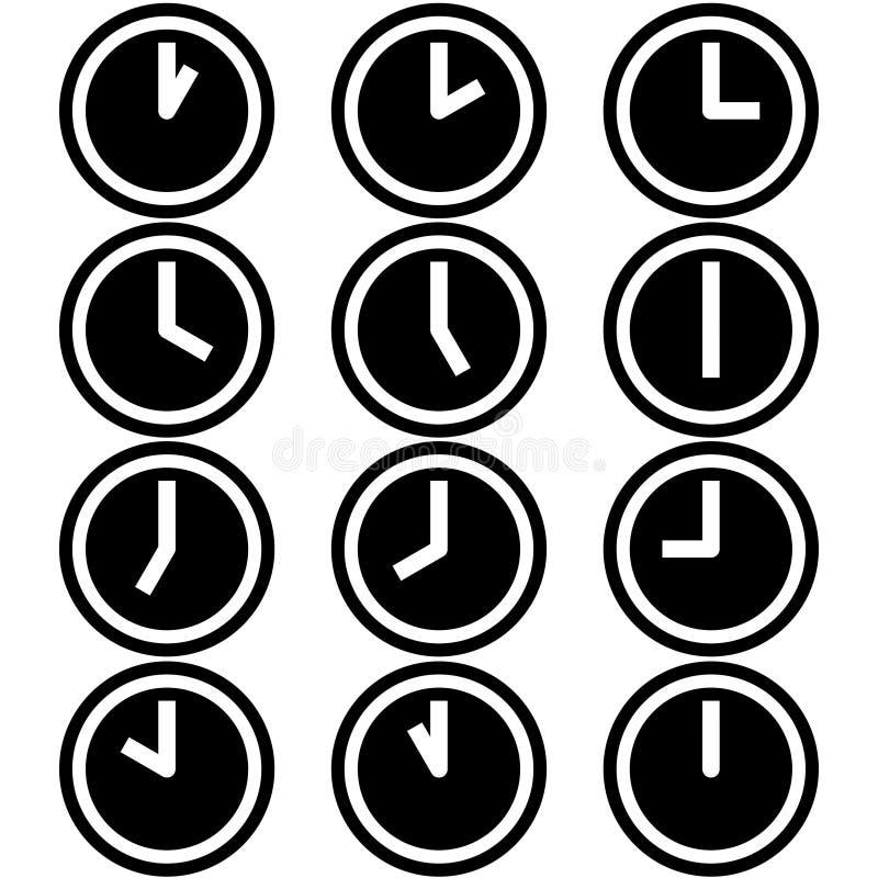 Часы показывая различные значки символов часов времени подписывают логотипы простой черно-белый покрашенный комплект 2 иллюстрация штока