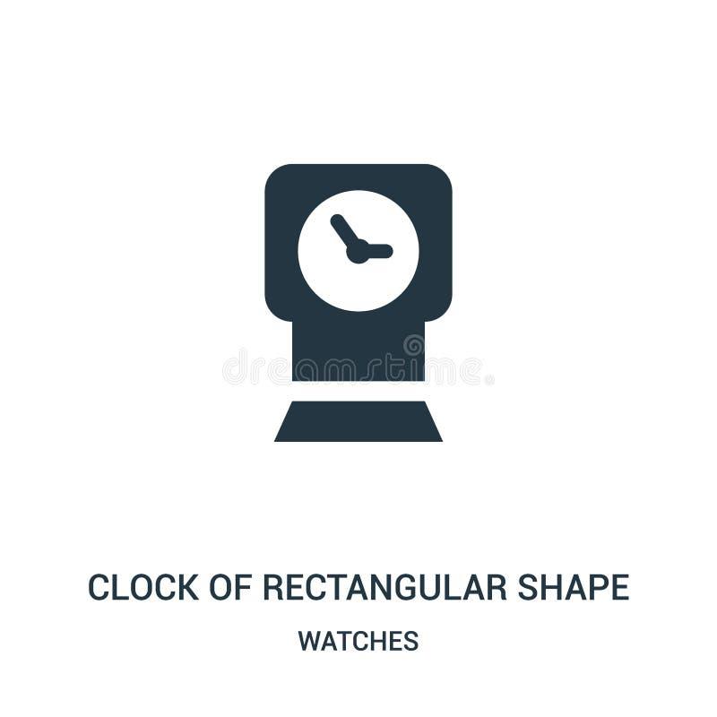 часы прямоугольного вектора значка формы от собрания дозоров Тонкая линия часы прямоугольного вектора значка плана формы иллюстрация вектора