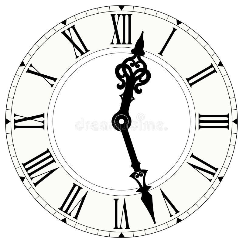 Часы римского цифра иллюстрация вектора