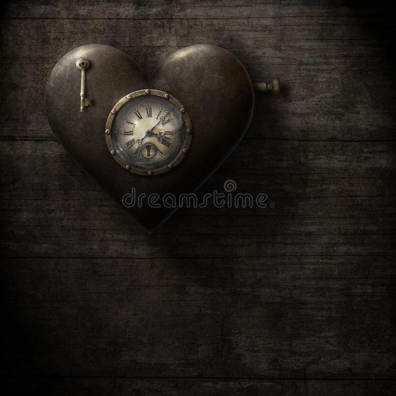 Часы сердца, grungy стиль steampunk иллюстрация штока