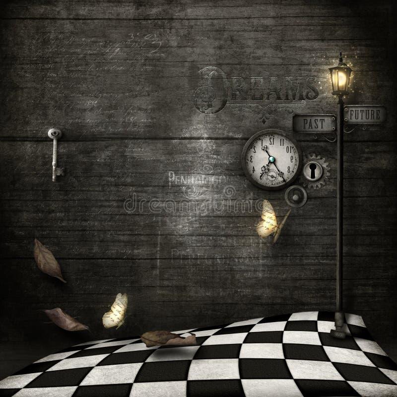 Часы сердца, grungy стиль steampunk иллюстрация вектора