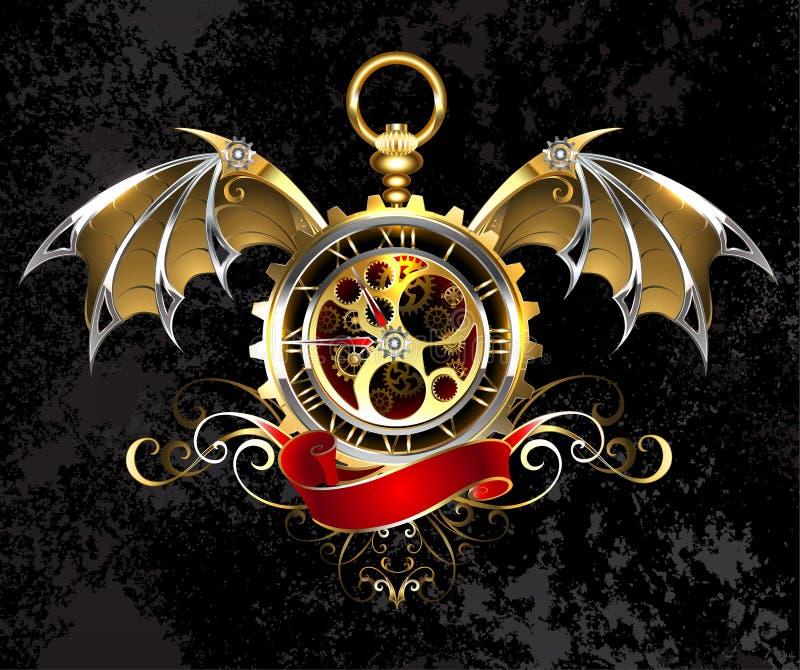 Часы с крылами дракона иллюстрация вектора