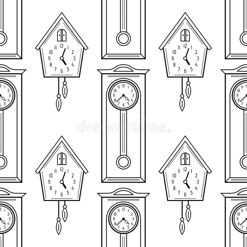 Часы с кукушкой и высокие стоячие час, плоские линейные объекты Черно-белая безшовная картина для книжка-раскраски, страницы иллюстрация штока
