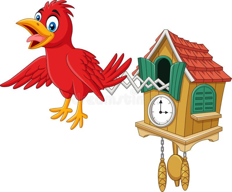 Часы с кукушкой с красный чирикать птицы бесплатная иллюстрация