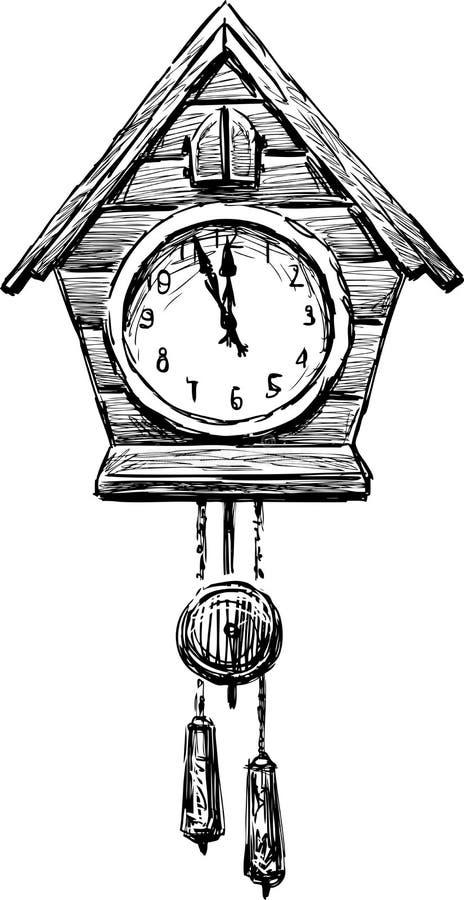 Часы с кукушкой иллюстрация вектора