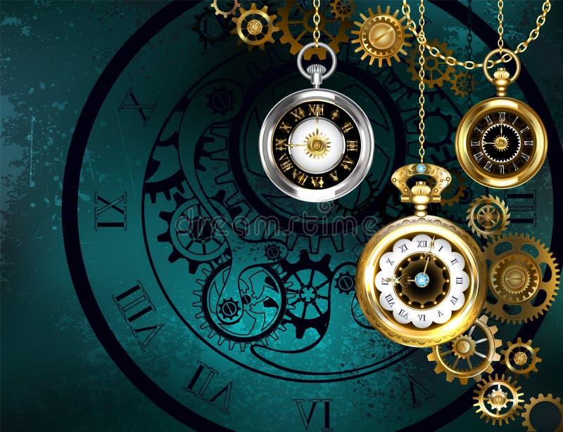 Часы с шестернями на зеленой предпосылке бесплатная иллюстрация