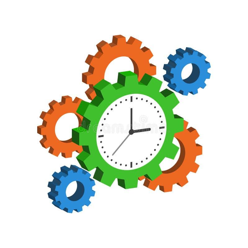 Часы с Cogwheels, символ контроля времени бесплатная иллюстрация