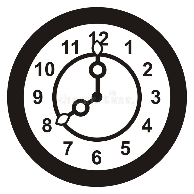 Часы, черный силуэт иллюстрация вектора