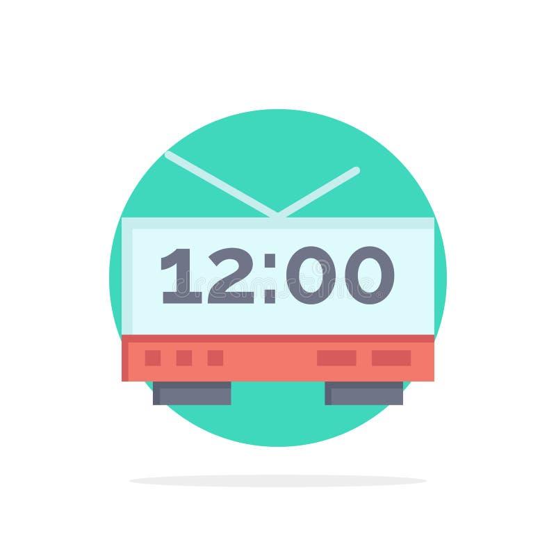 Часы, электрические, время, значок цвета предпосылки круга конспекта машины плоский иллюстрация штока