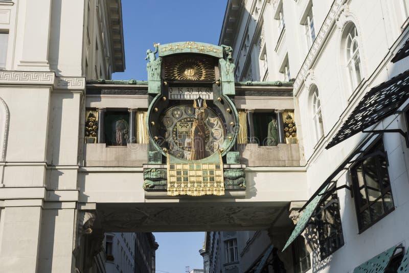 Часы Ankeruhr в вене стоковое фото rf