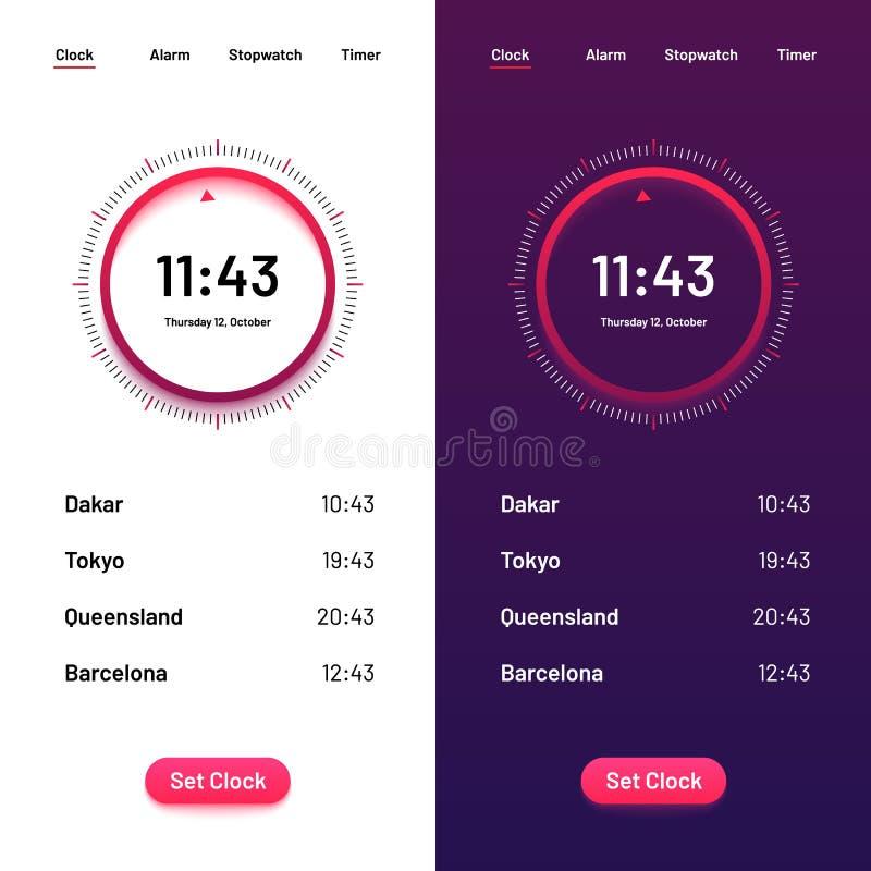 Часы App Ui комплекса предпусковых операций времени для все время Интерфейс часов для иллюстрации вектора смартфона иллюстрация штока