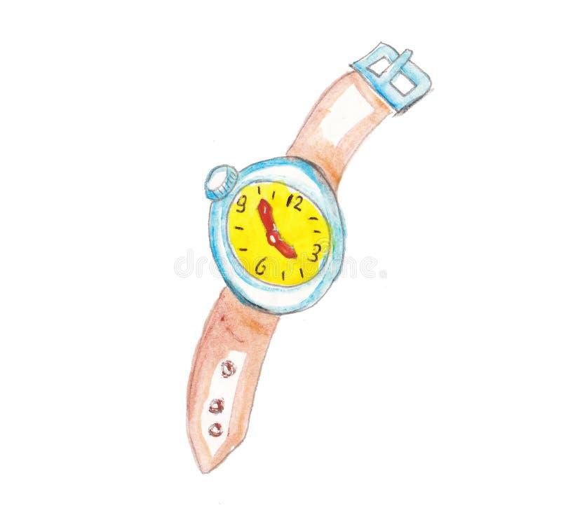 Часы colorfull указателя места заполнения акварели иллюстрация вектора