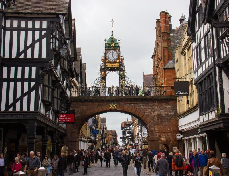 Часы Eastgate в Честере, Англии стоковые фотографии rf
