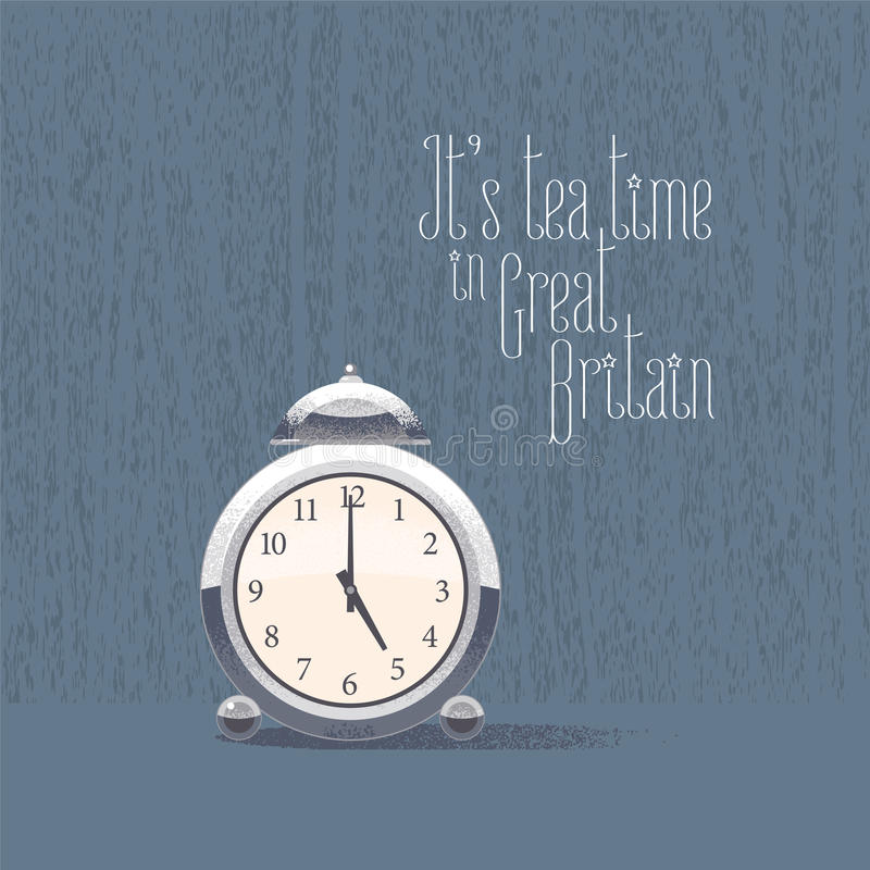 часы ` 5 o для иллюстрации вектора времени чая иллюстрация штока