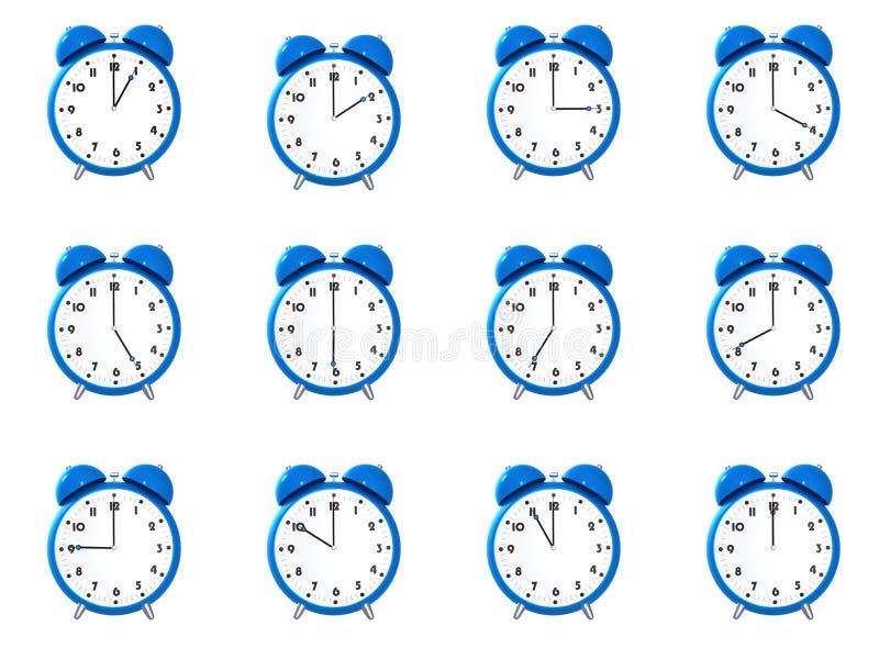 часы s 12 сигнала тревоги голубые иллюстрация вектора